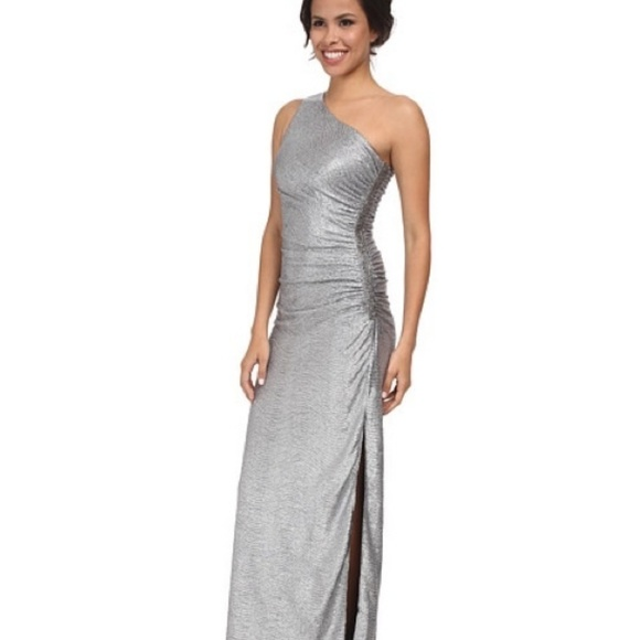 755f696aedb Laundry • NWT One Shoulder Metallic Silver Gown